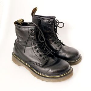 Dr. Martens Kids Delaney Black Lace Up Moto Boots